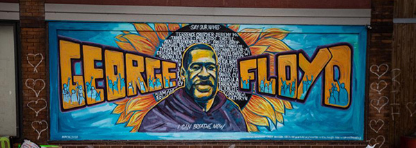 Mural at the memorial site for George Floyd